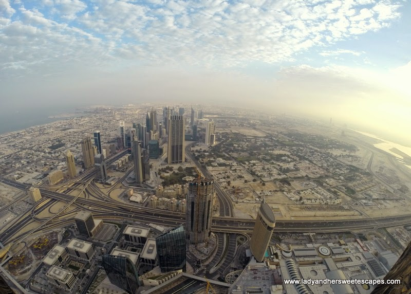 view of Sheikh Zayed Road from Burj Khalifa
