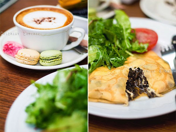 Left: Cappuccino | Right: Crepe Champignons (Culinary Bonanza)