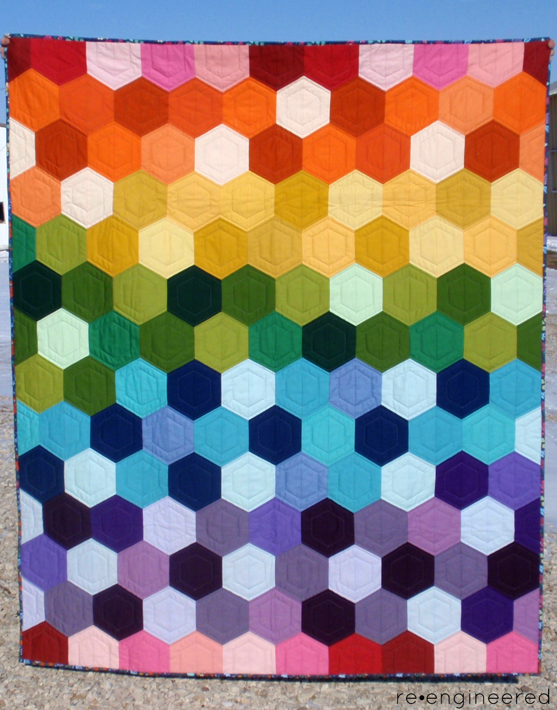 re engineered: rainbow hexagon quilt : finished