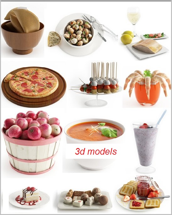 3d model max 3d models food 1 cd for Food bar 3d model