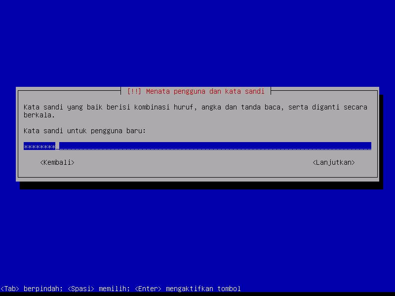 Instalasi Debian: Isikan Kata Sandi Pengguna Baru