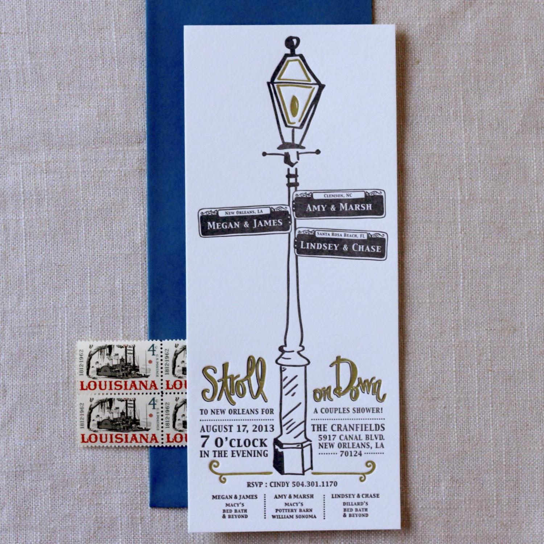 New Orleans Wedding Invitation Paper Plates Press Letterpress Design House French
