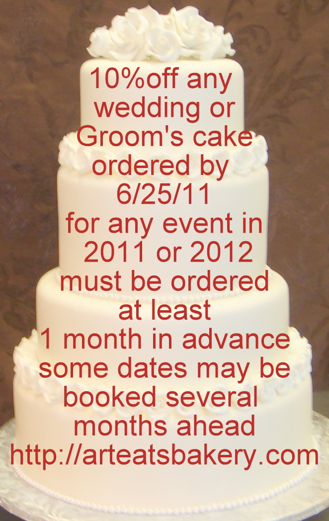 10 off coupon for a custom wedding or Groom 39s cake