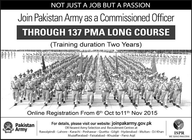 Join Pakistan Army as a Commissioned Officer 137 PMA Long Course