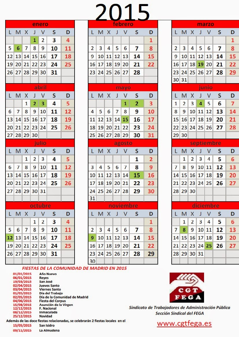 Calendario fiestas laborales 2016 comunidad de madrid for Calendario eventos madrid