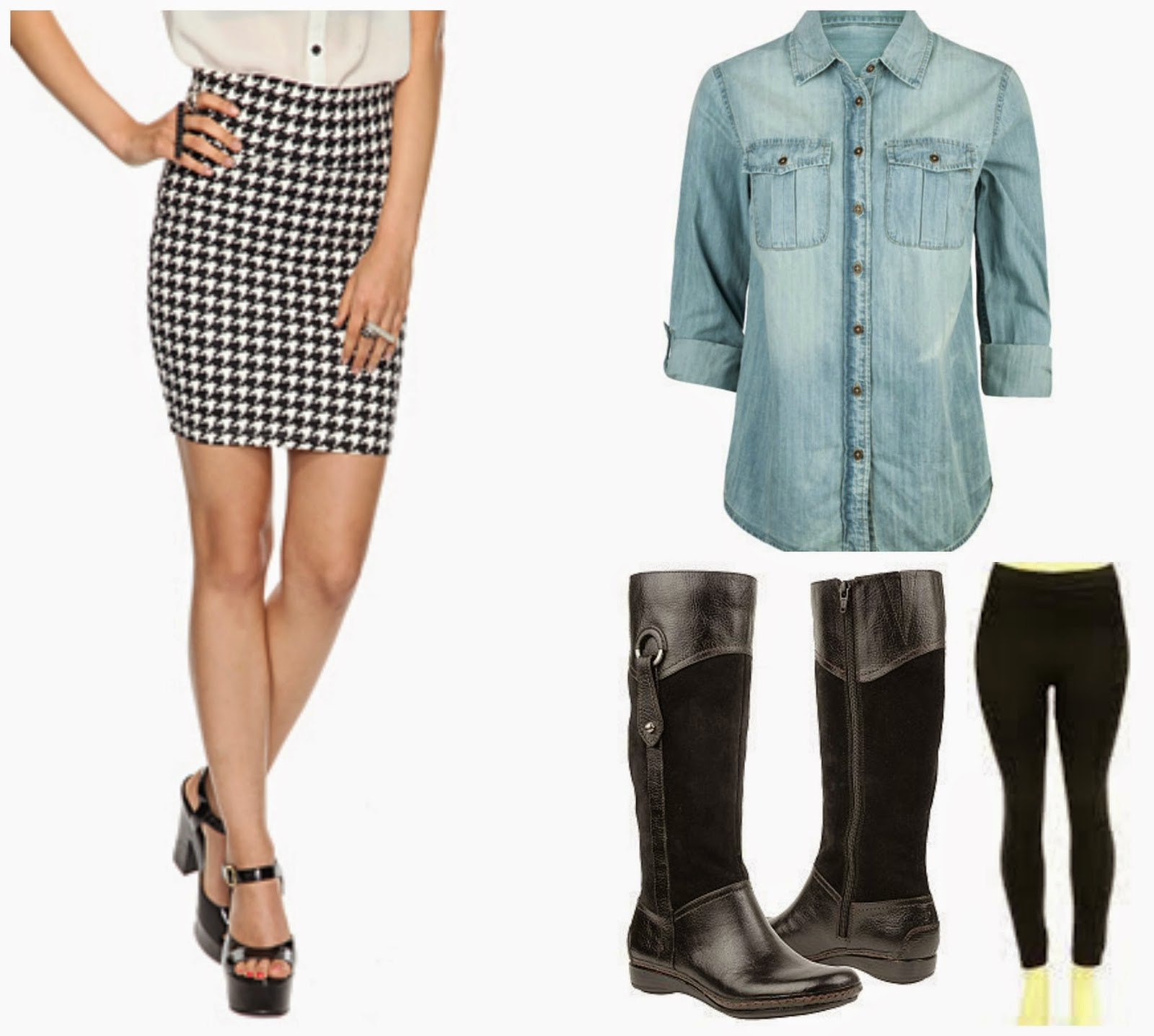 houndstooth skirt chambray, leggings, and boots