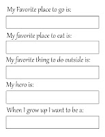 free printable 'Other Things About Me' page
