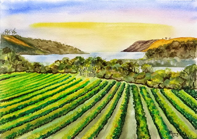 Stunning Watercolor Painting Landscape, Waiheke, Auckland, New Zealand 29.5x42cm