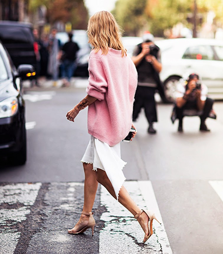 Chunky pink knit sweater, white midi skirt, Givenchy nude strappy sandals, street style