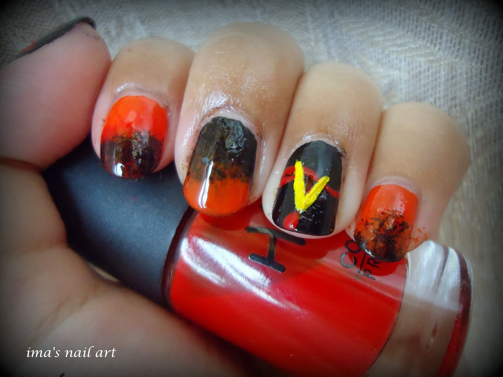 Imas nail art the vampire diaries nail art the gradient is created with the help of a sponge for tutorial httpimanailartspot201210tiger nail art tutorialml prinsesfo Gallery