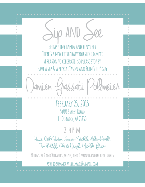 Sip and See Invite // katiefarrin.com
