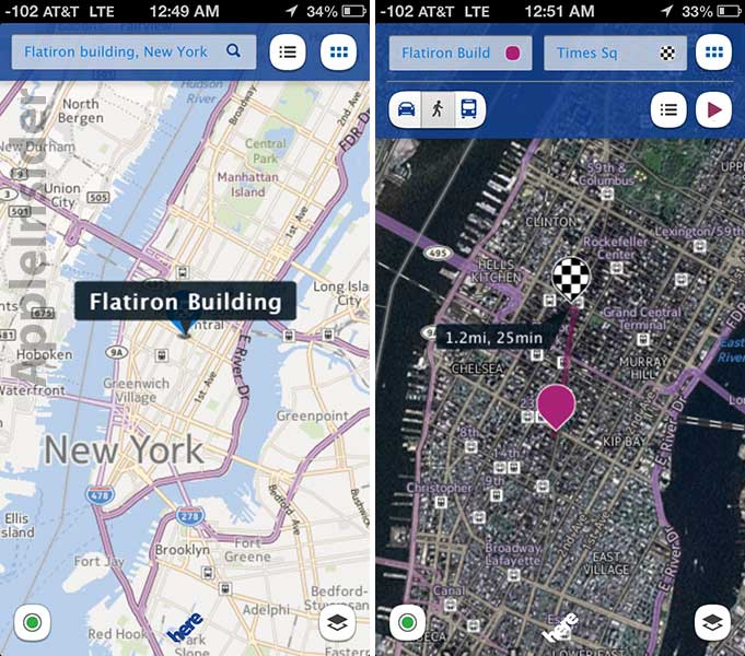 Nokias here maps app comes to ios app store ptetech today nokia launched the free app with offline caching and voice guided walking directions by bringing its new here mapping service to ios gumiabroncs Images
