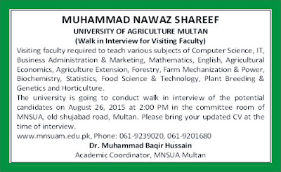 Visiting Faculty Required in Mian Nawaz Shareef University Multan