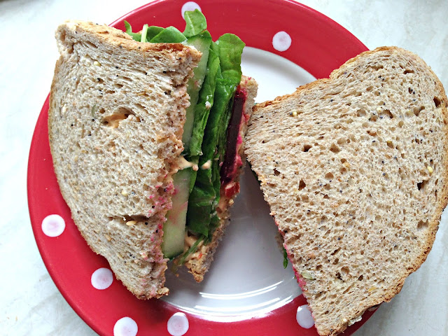 Hummus and Salad Sandwich