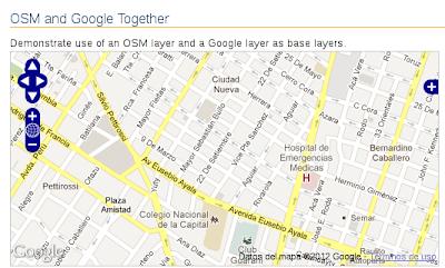 Imagen de ejemplo de OpenLayers usando Google Maps