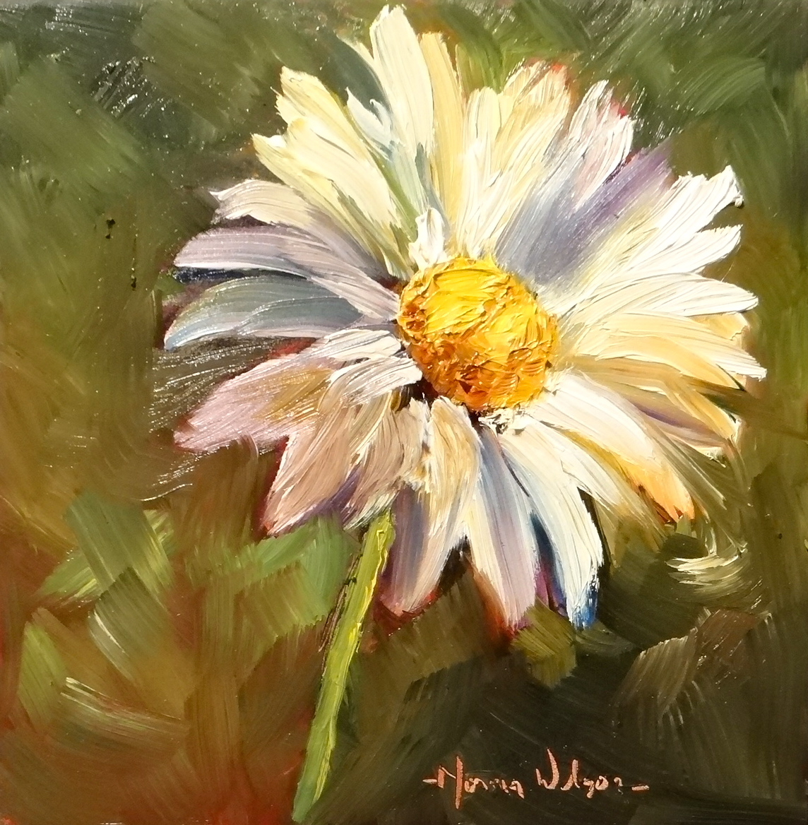 Norma wilson art daisy delight floral still life painting for Flower paintings on canvas