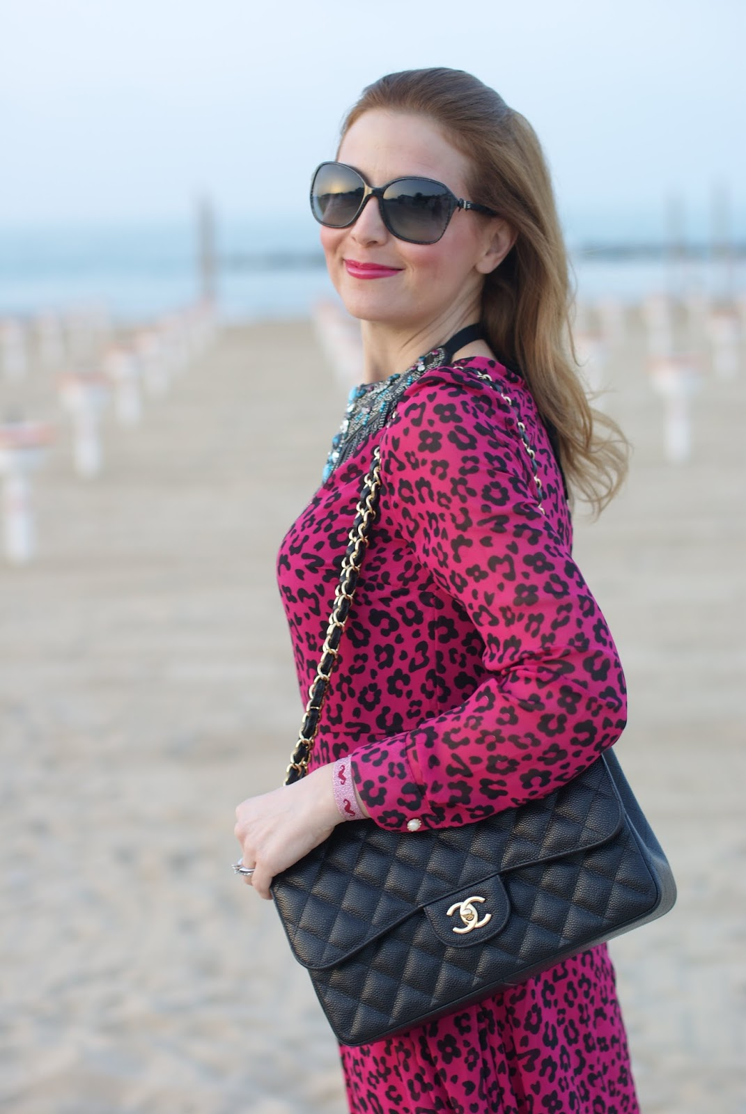 Chanel bag, pink leopard dress, pink dress, Fashion and Cookies fashion blog, fashion blogger style