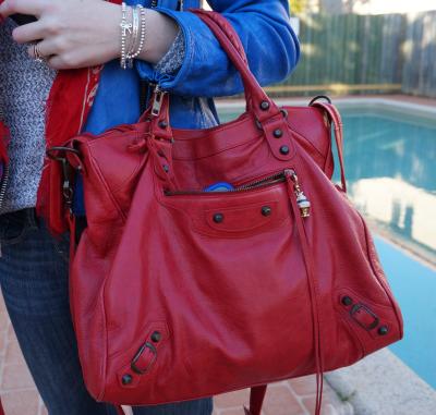 AwayFromBlue Balenciaga coquelicot poppy velo bag