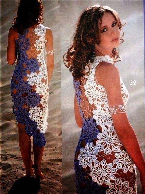 Bellísimo vestido al crochet con diseño floral