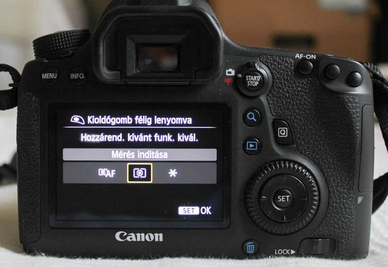Canon 6D AF-ON beállítása: Exponálógomb: Mérés indítása