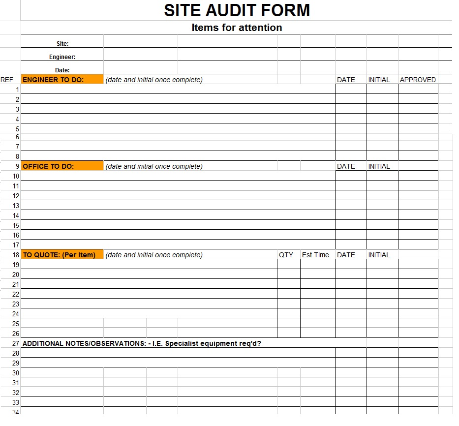 Download site audit form image