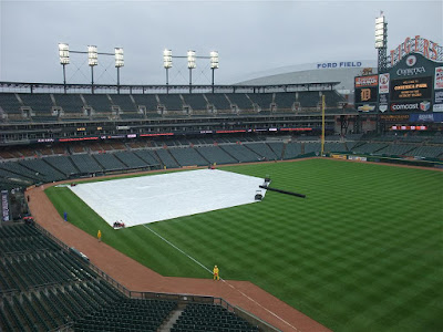 tarp on the field at comerica park, rain delay, detroit tigers