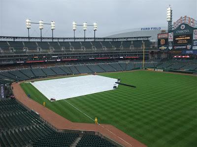 tarp on the field at comerica park, rain delay, detroit tigers