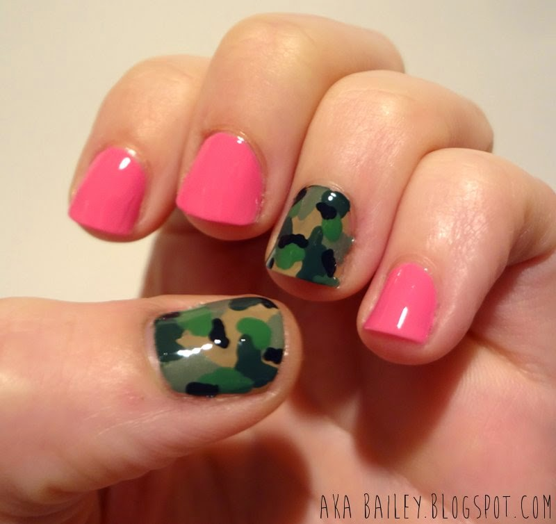 Pink nails with army print accent nail