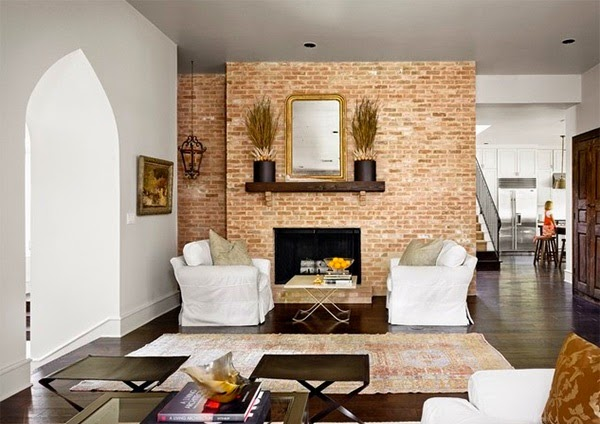 Papier peint brique salon for Brick wall living room ideas
