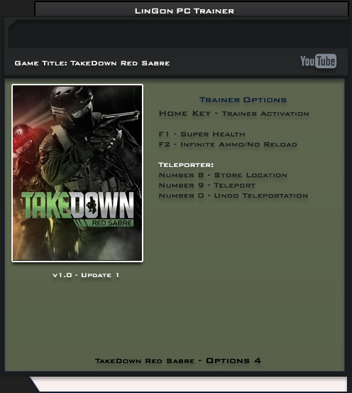 TakeDown Red Sabre v1.0 Trainer +4 [LinGon]