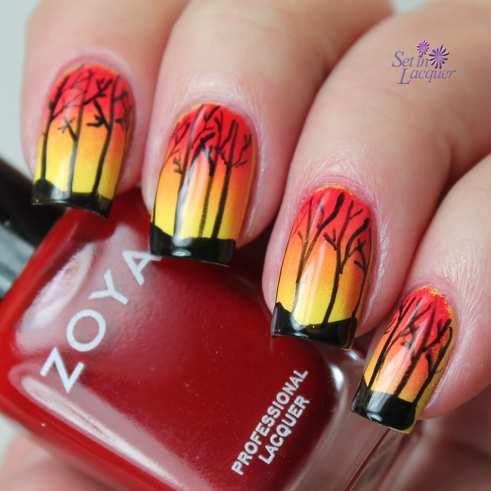 Sunset with trees nail art