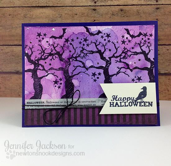 Spooky Watercolor Halloween Card by Jennifer Jackson | Spooky Street Stamp set by Newton's Nook Designs