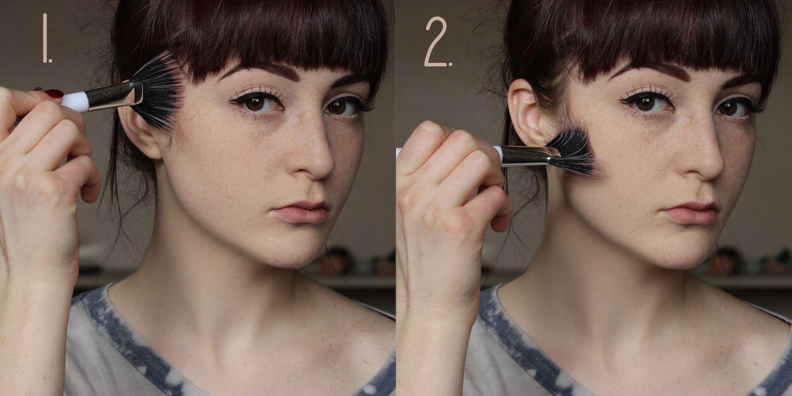 Coffeepls tutorial contouring with a fan brush after locating where your contour powder will go get some on your fan brush and start to make a tiny wedge shape up by your sideburn baditri Gallery