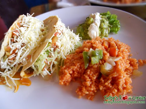 ... and cheese. Served with Mexican Rice, fresh guacamole, salsa fresca