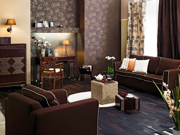 Decorate Small Living Roombrown Wallpaperbrown Sofa And Chair