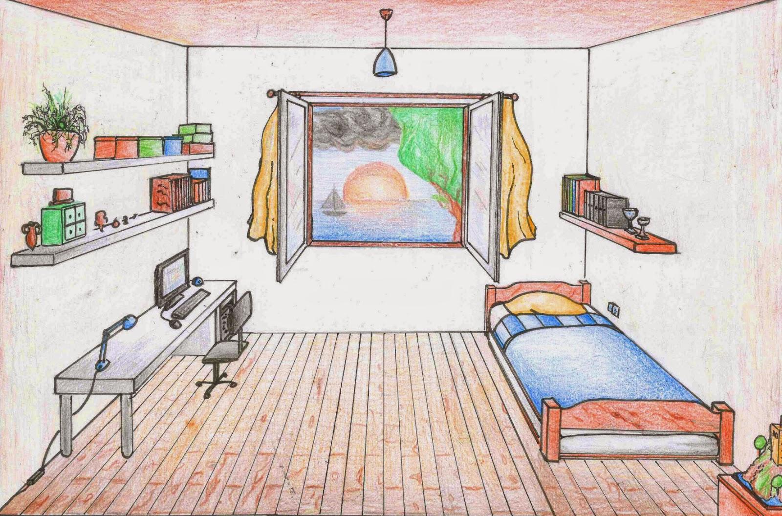 Lida pl stica habitaci en perspectiva c nica - Habitacion para colorear ...