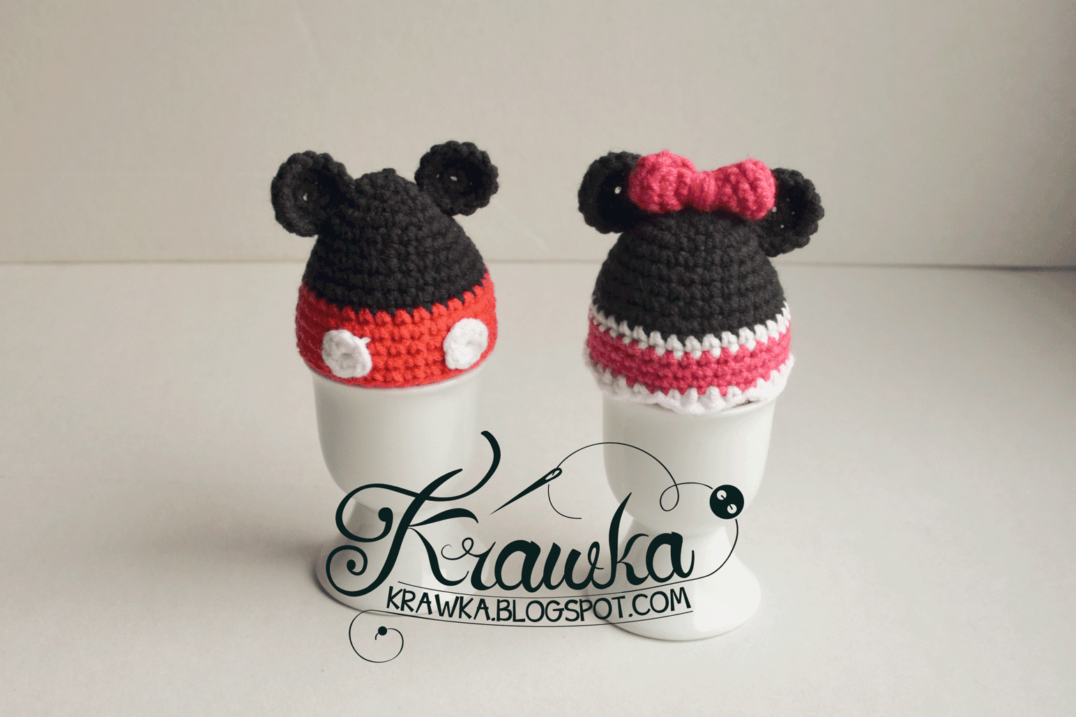 Krawka: Table decoration inspired by Mickey and Minnie Mouse - Easter egg cozies - Free crochet Pattern to make it yourself