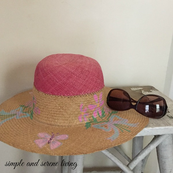 vintage hand painted straw hat