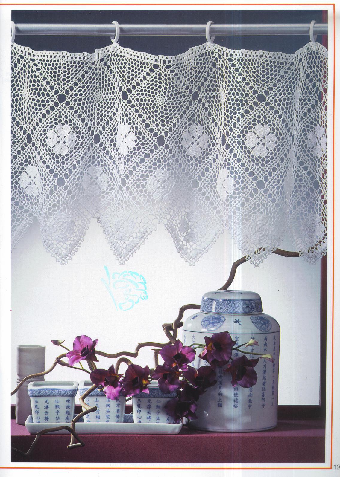 Mossita bella patrones y gr ficos crochet cortina con for Cortinas de gancho para cocina