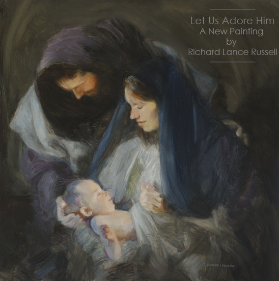 Let Us Adore Him Christmas Painting by Richard Lance Russell