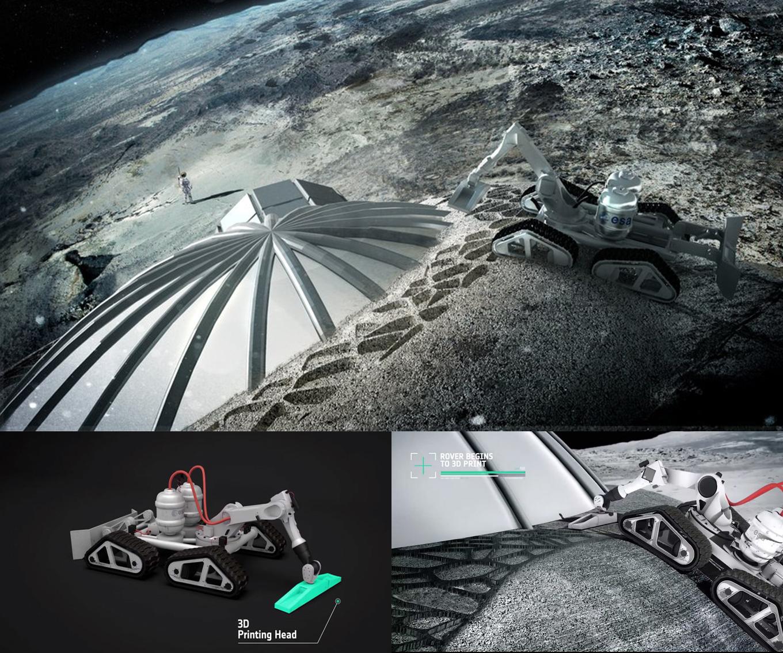 Primer motor de avión fabricado con impresora 3D Esa-Robot-impresora-3d-construir-base-lunar-crater-mosingenieros-moon