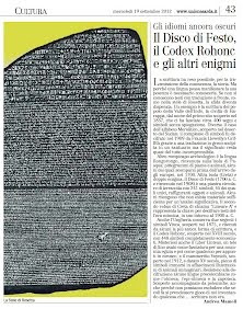 Gli idiomi ancora oscuri Il Disco di Festo, il Codex Rohonc e gli altri enigmi