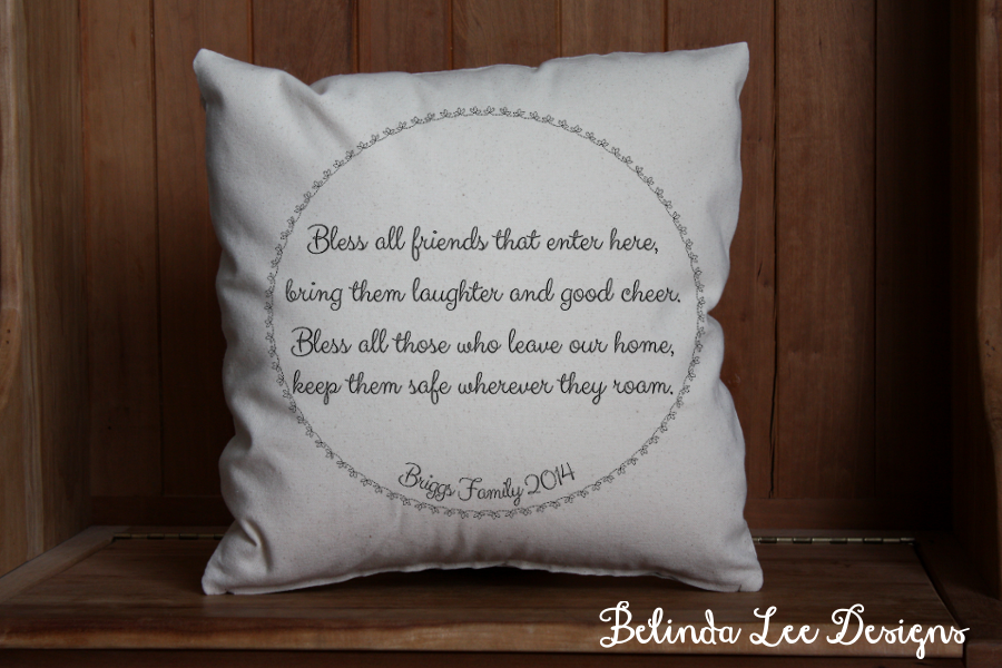 Housewarming Gift Bless all Friends That Enter Here Pillow | Personalized with Name and Date | 16 x 16 inch Insert + US Shipping Included | Belinda Lee Designs