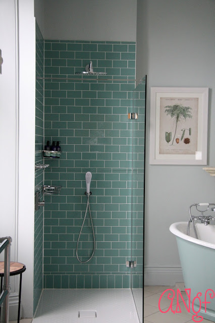 A luxurious blue bathroom with Neal's Yard products at Clevedon Hall | Anyonita Nibbles Gluten Free