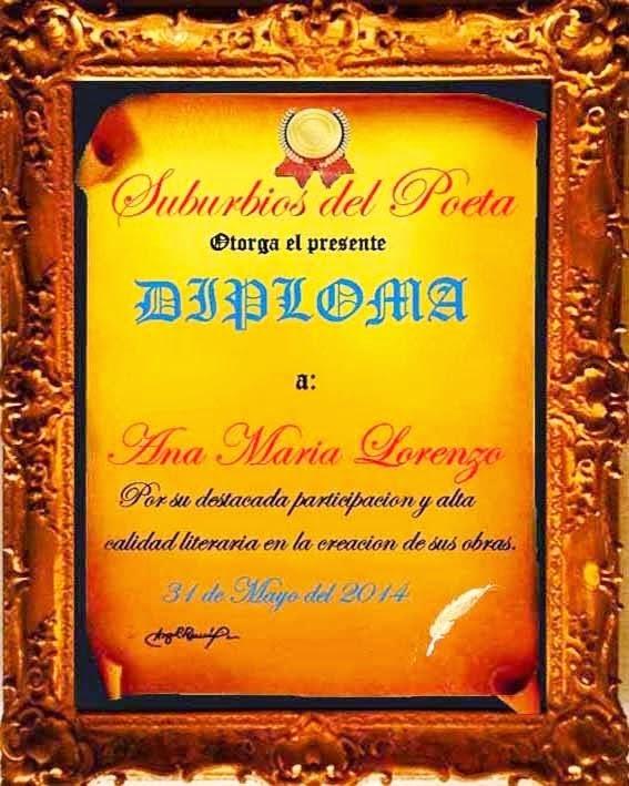 "DIPLOMA DEL GRUPO POÉTICO-LITERARIO ""SUBURBIOS DEL POETA"""
