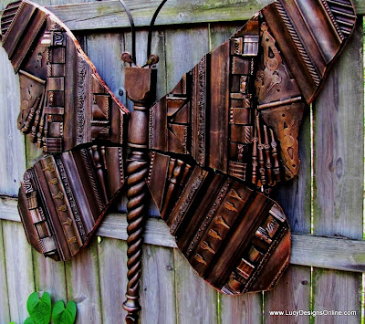 giant recycled repurposed butterfly artwork