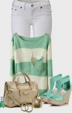 Outfit Ideas For Spring And Summer, this a collection of beautiful and stylish outfits white pant an d green blouse