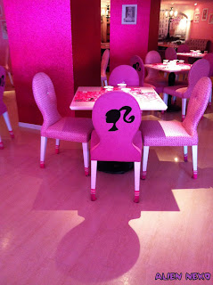 Barbie chairs at the Barbie cafe