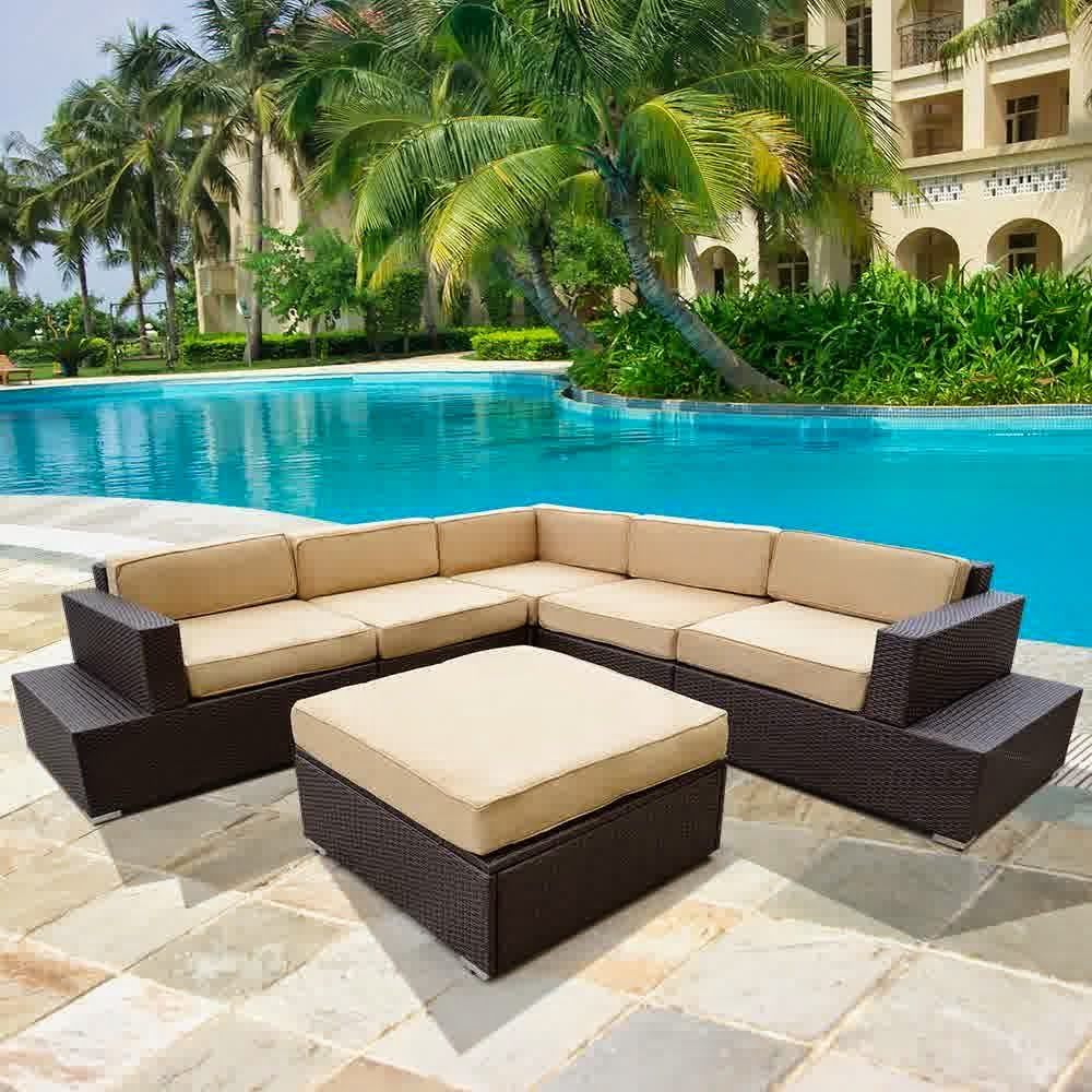 ® 6pcs Outdoor Patio Rattan Sofa Wicker Sectional Furniture Sofa Set