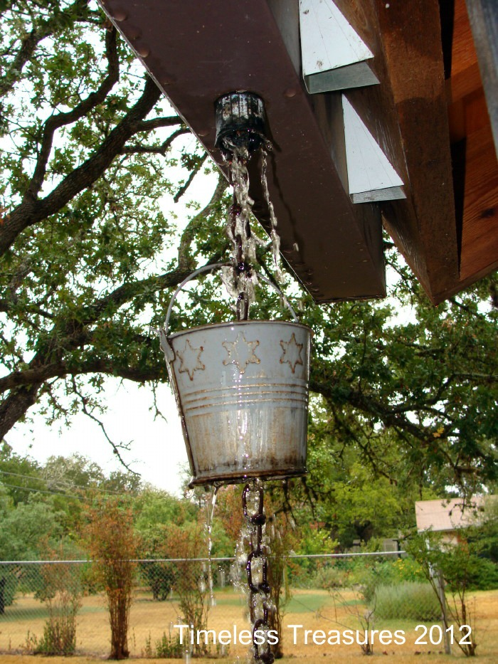 Timeless Treasures Tin Buckets Home Made Rain Chain Downspout